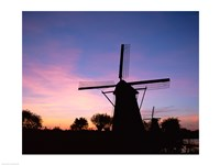 Silhouette, Windmills On Purple Sunset, Kinderdijk, Netherlands Fine-Art Print