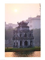 Pagoda at the water's edge during sunrise, Hoan Kiem Lake and Tortoise Pagoda, Hanoi, Vietnam Fine-Art Print
