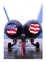 FA-18 Hornet engines covered with American flag, USA Fine-Art Print