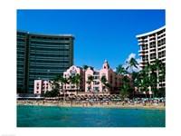 Hotel on the beach, Royal Hawaiian Hotel, Waikiki, Oahu, Hawaii, USA Fine-Art Print