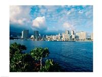 Buildings on the waterfront, Waikiki Beach, Honolulu, Oahu, Hawaii, USA Fine-Art Print