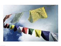 Low angle view of prayer flags, Kathmandu, Nepal Fine-Art Print