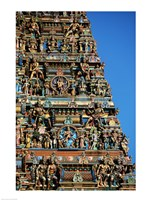 Carvings on a temple, Sri Meenakshi Hindu Temple, Chennai, Tamil Nadu, India Fine-Art Print