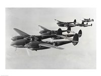 Four fighter planes in flight, P-38 Lightning Fine-Art Print