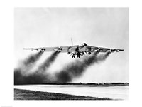 Low angle view of a fighter plane taking off, B-52 Stratofortress Fine-Art Print