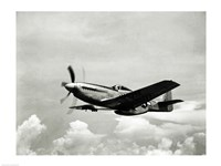 Low angle view of a military airplane in flight, F-51 Mustang Fine-Art Print