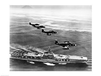 High angle view of four fighter planes flying over an aircraft carrier, US Navy Banshees, USS Coral Sea (CV-43) Fine-Art Print