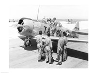 Rear view of four soldiers standing near a fighter plane, T-6 Texan Fine-Art Print