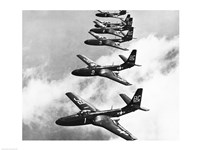 High angle view of fighter planes in flight, Mcdonnell FH-1 Phantom Fine-Art Print