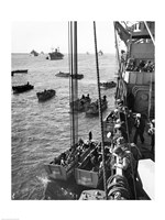 High angle view of army soldiers in a military ship, Normandy, France, D-Day, June 6, 1944 Fine-Art Print