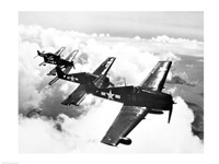 High angle view of four fighter planes flying in formation, F6F Hellcat Fine-Art Print