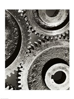 Close-up of interlocked gears Fine-Art Print