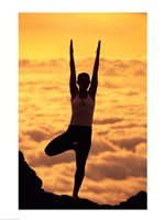 Silhouette of a young woman practicing yoga, Maui, Hawaii Fine-Art Print