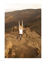 Woman Concentrating While Doing Yoga on Mountain Fine-Art Print