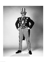 Senior man in an Uncle Sam Costume Standing with Arms Akimbo Fine-Art Print