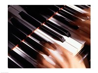 Close-up of a person's hands playing a piano Fine-Art Print