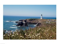 Lighthouse on the coast, Yaquina Head Lighthouse, Oregon, USA Fine-Art Print