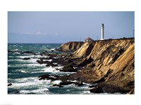 Lighthouse on the coast, Point Arena Lighthouse, Point Arena, California, USA Fine-Art Print