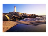 Lighthouse on the coast, Peggy's Cove Lighthouse, Peggy's Cove, Nova Scotia, Canada Fine-Art Print
