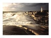 Waves crashing against rocks, Peggy's Cove Lighthouse, Peggy's Cove, Nova Scotia, Canada Fine-Art Print