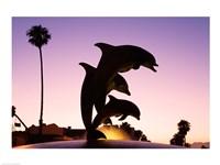 Dolphin Fountain on Stearns Wharf, Santa Barbara Harbor, California, USA Fine-Art Print