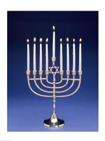 Close-up of a menorah with a Star of David Fine-Art Print