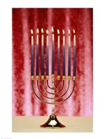 Close-up Of Lit Candles On A Menorah On Red Fine-Art Print