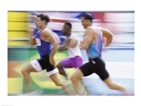 Side profile of three men running on a track Fine-Art Print