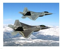 Two F-22 Raptor in Flying Fine-Art Print
