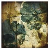 Vintage Teal Blooms I Fine-Art Print
