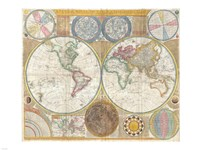 1794 Samuel Dunn Wall Map of the World in Hemispheres Fine-Art Print