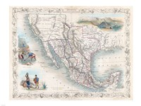 1851 Tallis Map of Mexico, Texas, and California Fine-Art Print