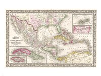 1866 Mitchell Map of Mexico and the West Indies Fine-Art Print
