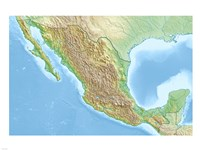 Mexico Relief Location Map Fine-Art Print