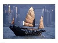 Chinese Junk sailing in the sea, Hong Kong Harbor, Hong Kong, China Fine-Art Print