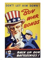 Don't Let Him Down! Buy War Bonds Fine-Art Print