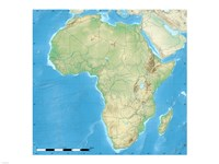 Africa Relief Location Map Fine-Art Print