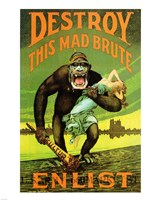 Destroy This Mad Brute' US Enlist Poster Fine-Art Print