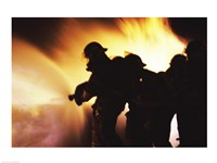 Firefighters Extinguishing A Fire With Water Fine-Art Print