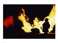 Firefighters In front Of Flames Extinguishing A Fire Fine-Art Print