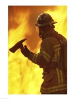 Firefighter holding an axe Fine-Art Print
