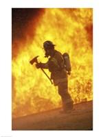 Side profile - firefighter holding an axe Fine-Art Print