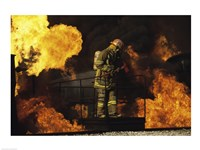 Side profile of a firefighter holding an axe Fine-Art Print