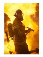 Side profile of a firefighter (holding axe) Fine-Art Print