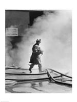 Firefighter walking in front of smoke Fine-Art Print
