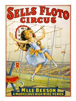 Floto Circus Presents M'lle Beeson, a marvelous high wire Venus, Performance Poster,1921 Fine-Art Print