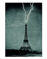 Lightning Striking the Eiffel Tower Fine-Art Print