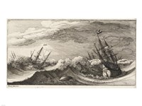 Wenceslas Hollar - The whale and the three-masted ship Fine-Art Print