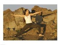 Young woman practicing yoga, Haleakala, Haleakala National Park, Maui, Hawaii, USA Fine-Art Print