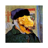T Rex Van Gogh with Bandaged Battle Damaged Ear Fine-Art Print